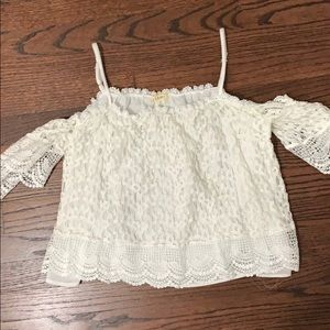 White lace off the shoulder top small